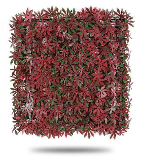 Muro-Verde-Artificial-Follaje-Hoja-de-Maple-Rojo